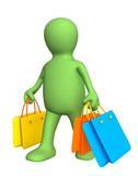 3d person - puppet, carrying packages with purchases poster