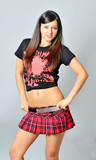 Attractive young woman wearing plaid mini skirt poster