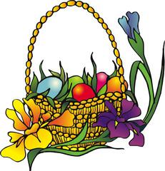 easter eggs and irises