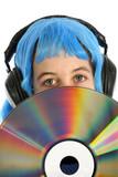 adolescente avec disque laser poster
