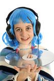 adolescente avec disque laser ecoute de la musique poster