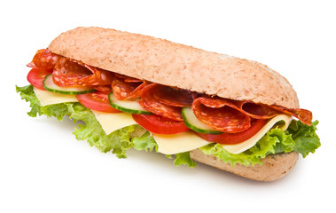 Fresh spicy deli-style salami sandwich isolated on white