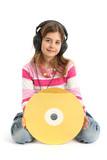 Enfant avec disque laser isolé sur fond blanc poster