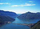 Blick vom Monte San Salvator auf den Luganer-See poster