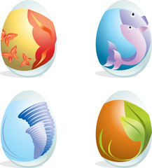 Elegance design easter eggs - four elements