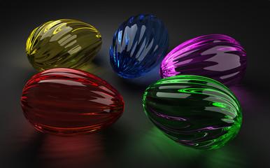 Easter glass eggs