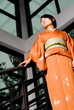Dramatic Kimono Girl In Contemporary Surroundings