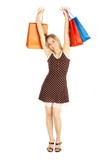 girls with shoppingbags - comparison shopping. Sale! poster