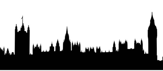 Big Ben and Houses of Parliament silhouette, London