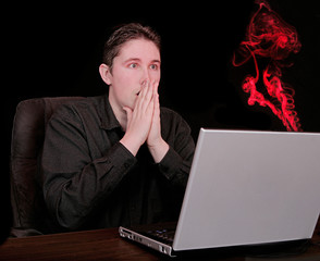 fiery smoke from computer