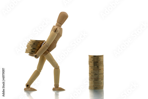 Manikin carrying money