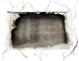 crushed hole at the white wall poster