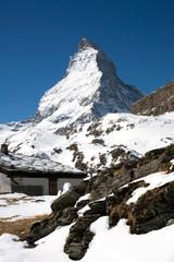 Matterhorn mountain and small hut