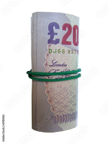 20 Pounds bank notes rolled