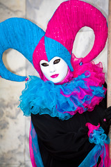 Blue and pink Venetian costume