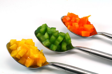 Pepper filled spoons
