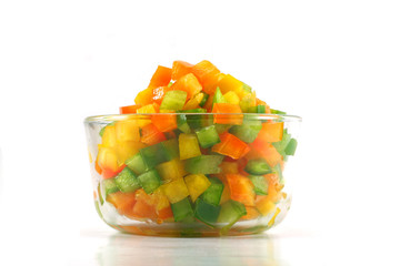 Bowl of chopped peppers