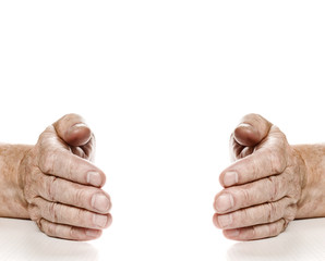 Old hands isolated on white background