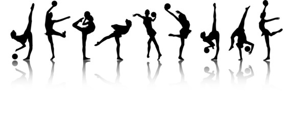 Silhouettes of gymnast girls