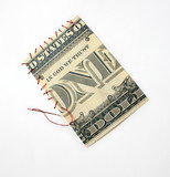 One dollar patch sewing with red thread and steel needle poster
