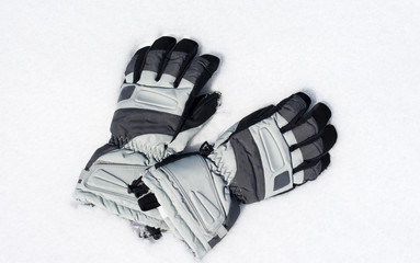 Gloves on the snow