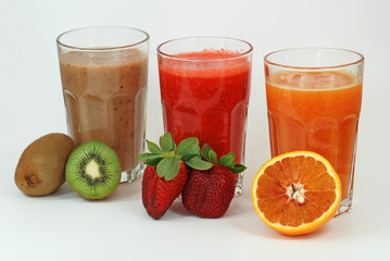 Fruit Juice with Kiwi Strawberry and Orange