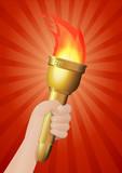 Torche  sur fond avec rayon poster