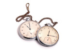 Old soviet pocket watch covered with rust and dust poster