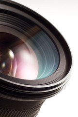A camera lens on white isolated background.