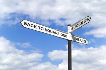 Back to Square One  Success and Failure signpost
