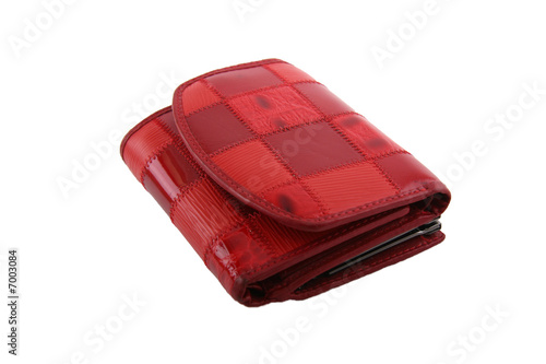 Red purse on white background