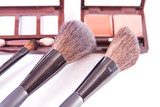 makeup brush and colorful cosmetics poster
