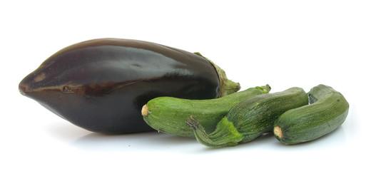 Aubergine eggplant and zucchini pumpkins