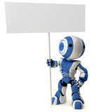 Fototapety Glossy Blue Robot Standing Holding Sign
