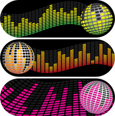 Three Disco Music Equalizer Banners
