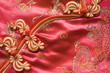 Chinese Red knot buttons on silk dress