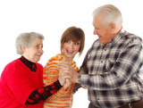 happy grandparents and granddaughter play the fool poster