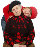 happy grandmother and granddaughter with berets poster
