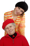 grandmother and granddaughter with berets poster