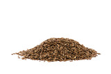 A nice pile of some flax-seed isolated on white background