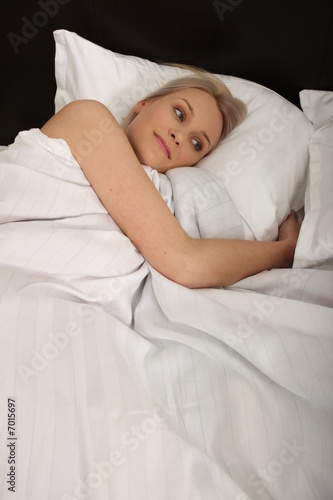 Beautiful woman before sleeping