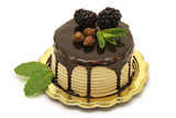 Hazelnut and chocolate mousse cake on white background poster