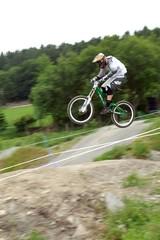 Mountain biker racing downhill