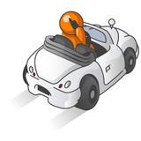 Orange Man Driving Car poster
