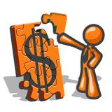 Fototapety Orange Man Financial Puzzles