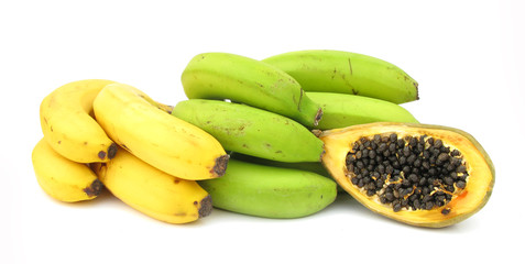 Bananas yellow and green and papaya isolated