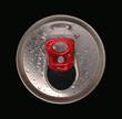 Close-up of aluminum drink can isolated on black background