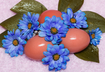 easter eggs with blue flowers