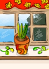 Kitchen Window Sill with Flower pot