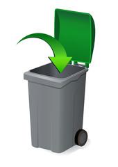 Déposer dans la poubelle verte